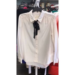 NWT Authentic Kate Spade Silk White Shirt with Bow